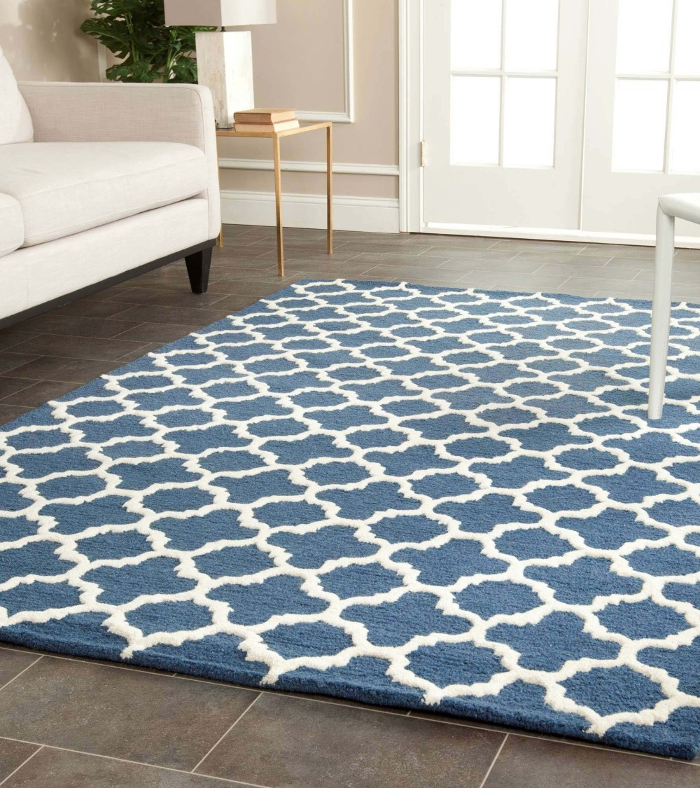 Blue And Brown Rugs With Circles